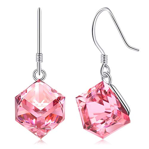 CAT EYE JEWELS Pink Crystals Earrings Rose Quartz S925 Sterling Silver Dangle Earrings E02-SWD-P