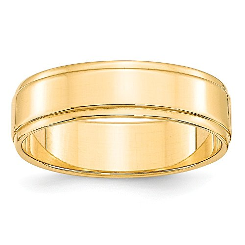 14k Gold Flat Edge (Solid 14k Yellow Gold 6 mm Flat Step Down Edge Wedding Band Ring)