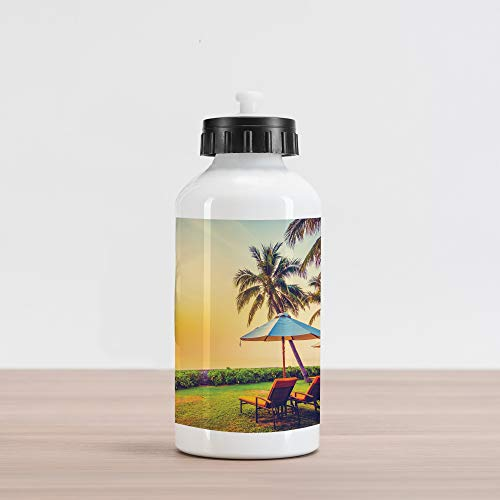 Lunarable Seaside Aluminum Water Bottle, Empty Umbrella and Chairs on The Beach Palm Trees at Twilight Times Vacation Theme, Aluminum Insulated Spill-Proof Travel Sports Water Bottle, Multicolor ()