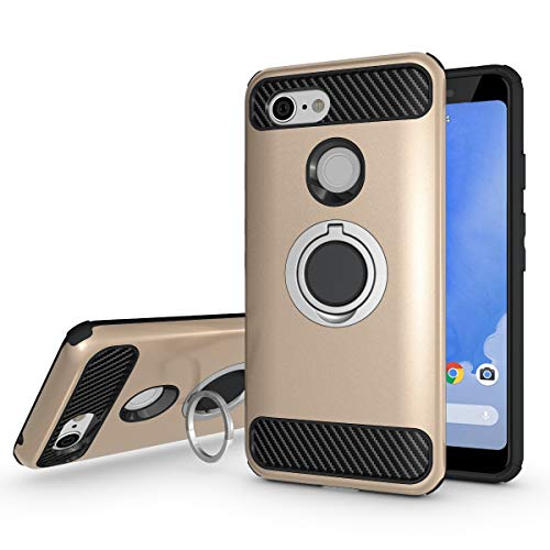 Newseego Compatible Google Pixel 3 Case, Armor Dual Layer 2 in 1 and Finger Ring Holder Kickstand Fit Magnetic Car Mount for Google Pixel 3-Golden
