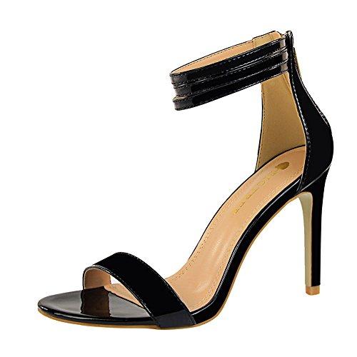 z&dw Moda simple talón de tacón alto sexy con sandalias Negro