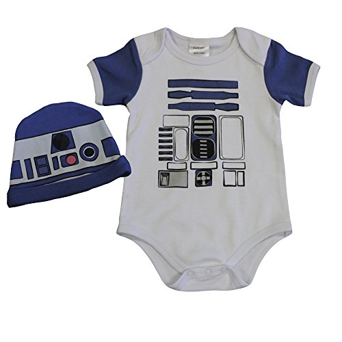 Knitwits R2D2 Inspired Baby Onesie and Hat Bundle Outfit (0-3 Months)