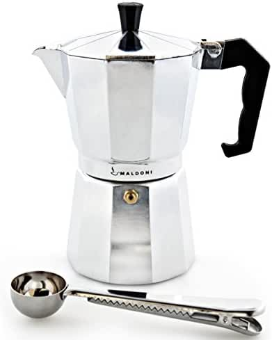 Maldoni 6-cup Stovetop Espresso Coffee Maker with Measuring Spoon / Scoop with Bag Clip - Aluminum Moka Pot