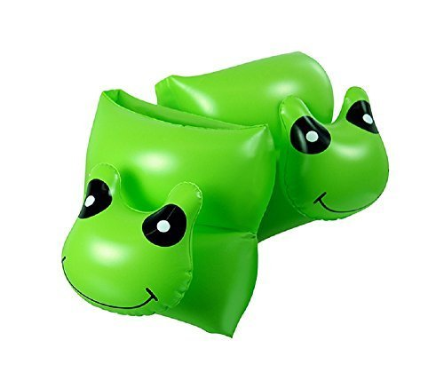 Green Animal Head Frog Swimming Pool Inflatable Learn-To-Swim Arm Floaties - Children Ages 3-12 by Swim Central