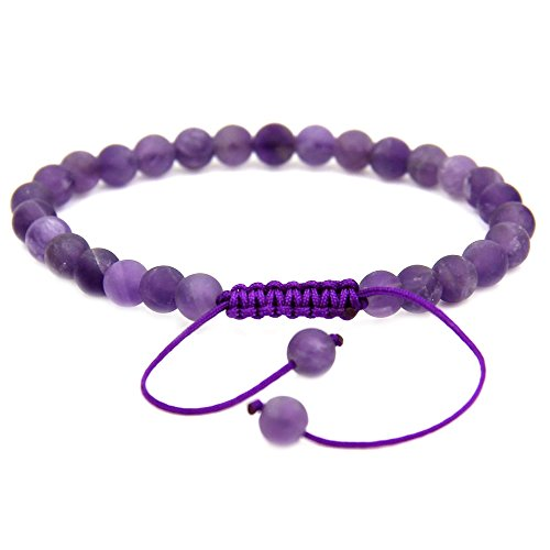 Natural A Grade Matt Amethyst Gemstone 6mm Round Beads Adjustable Bracelet 7