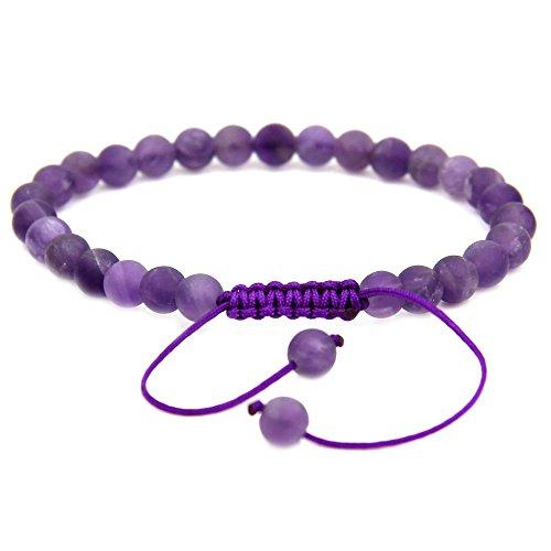- Natural A Grade Matt Amethyst Gemstone 6mm Round Beads Adjustable Bracelet 7