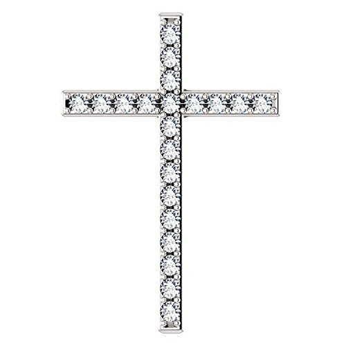 - White Like Wool White Sapphire Gold Cross Pendant, 18K White Gold