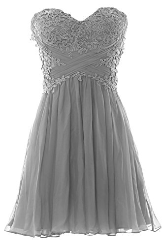 Prom Mini Party Silber Cocktail Strapless Women Chiffon Dress Lace Gown MACloth Formal 0w6aZqf