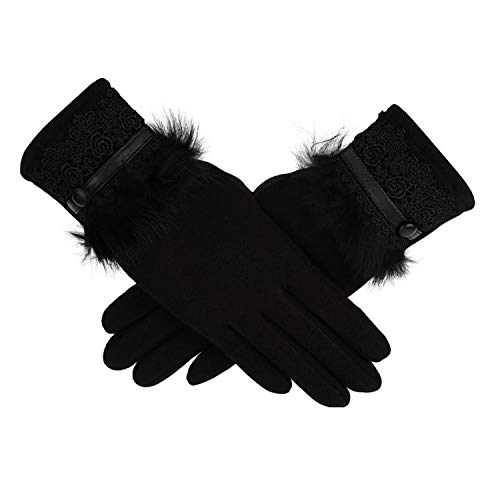 AMAZING AMAZING Women Gloves handschoenen Winter Warm Full Finger Gloves Fake Fur Lace Touched Screen Gloves