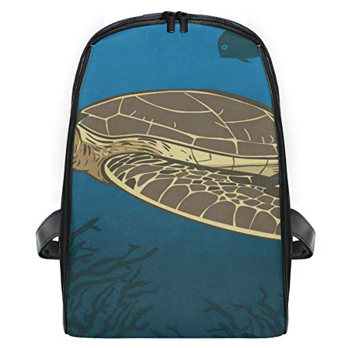 Backpack Funny Cartoon Sea Turtle Personalized Shoulders Bag Classic Lightweight -