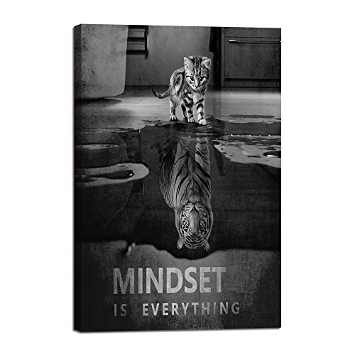 "Inspiration Wall Art Posters Small Cat Pictures Big Tiger Canvas Painting Mindset is Everything Print Poster Artwork Wooden Home Decor for Living Room Bedroom Office Framed Ready to Hang (24""Wx36""H)"