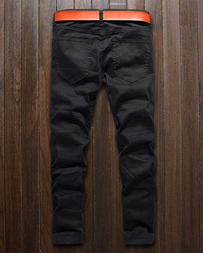 Unita Strappato Stretch Tinta Uomo Nero Di Fit Marca Biker Casual Pants Mode Pantaloni Zipper Denim Da Slim Jeans qRZzaa