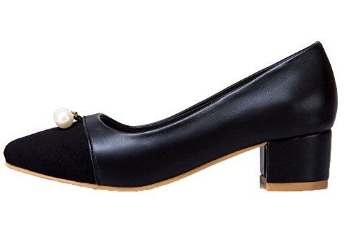 Odomolor Women's PU Pull-on Square-Toe Kitten-Heels Solid Pumps-Shoes Black aL5xcwe