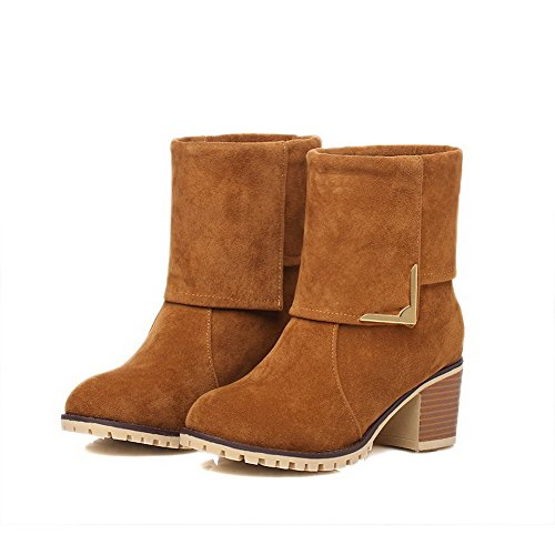 Toe Brown AllhqFashion Round On Boots Kitten Closed Heels Solid Womens Frosted Pull rPYaXr