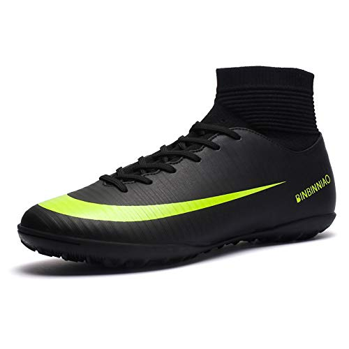 CR Indoor Cleats Big Boys Size Ankle Boots Women Turf Outdoor Soccer Shoes for Men Size Black (8 M Women, Black)