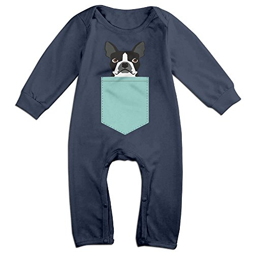 Infant Boston Terrier And French Bulldog Unisex Baby Onesie Babysuit Long-sleeve Navy 6 M