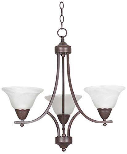 Sunset Lighting F5163-54 Chandelier with Faux Alabaster Glass, Painted Pewter Finish