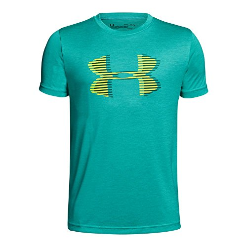 Under Armour Boys' Tech Big Logo Printed T-Shirt, Teal Punch (594)/Tokyo Lemon, Youth X-Large