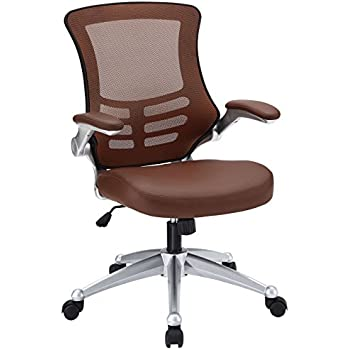 amazon com modway attainment mesh back and tan vinyl modern office