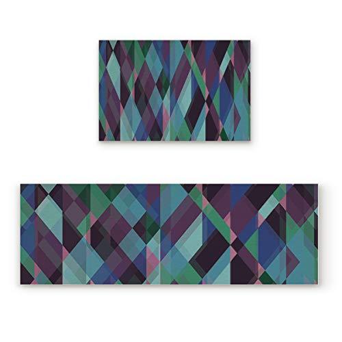 Lightrain Abstract Dimonds Geometric 2 Piece Doormat Hallway Kitchen Runner Rug Carpet (Non-Slip) Rubber Backing Area Rug Set Floor Mat