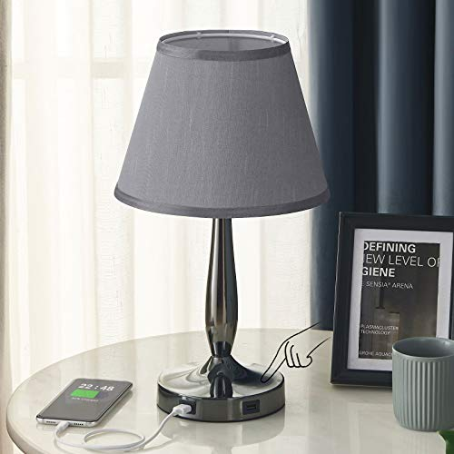 Touch Table Lamp with USB Ports, 3-Way Dimmable Modern Small Nightstand Lamp for Bedroom, Living Room & Office, Bedside…