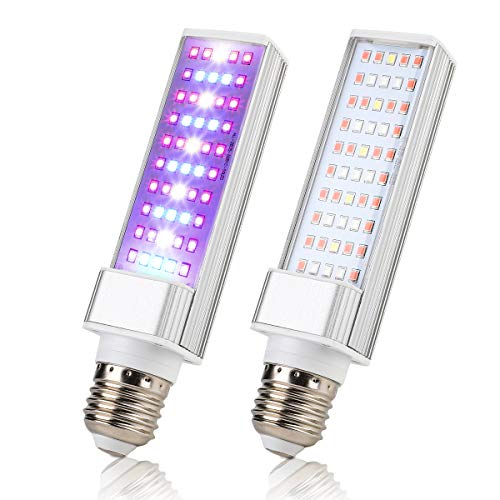 【2 Pack】Led Grow Light Bulb,SUPERNIGHT E26 110V 25W 50pcs LEDs Sunlike Full Spectrum Growing Lamp for Indoor Plants Hydroponic Aquatic Seedling Vegetable Flower (30 Red LEDs+15 Blue LEDs+5 White - Jerky Strips Vegetables