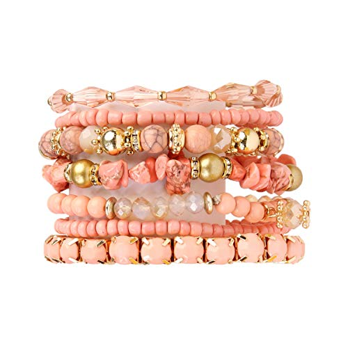MYS Collection Bohemian Multi-Layer Beads Stretch Charm Stack Bracelet - Multi Strand Beaded Layering Slip-on Bangles Set (Marble Mix - Dusty Pink)