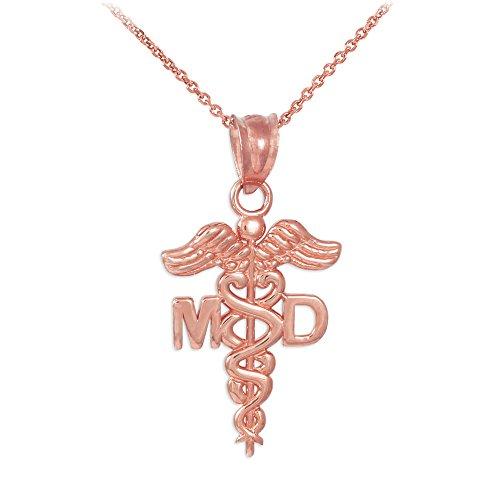 Collier Femme Pendentif 10 Ct Or Rose Caduceus Md Charme Médical Docteur (Livré avec une 45cm Chaîne)