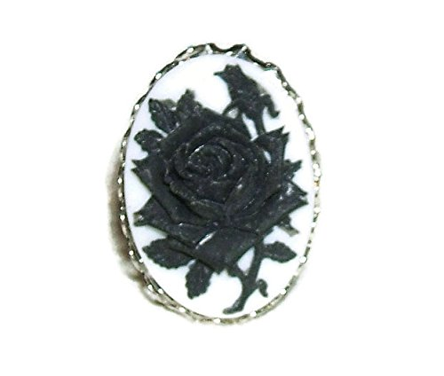 BLACK ROSE CAMEO RING Silver Plated ADJUSTABLE Wide Band Mourning Jewelry