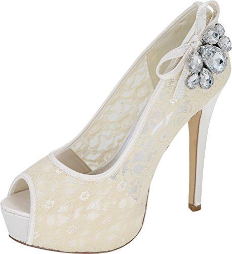 3128 Platform Dress Ivory Prom 19e Comfort Bride Slip Peep Wedding Bridesmaid 5 Mesh On Party Pumps Ladies 37 Eu Work Toe Rhinestone ztqtxAr