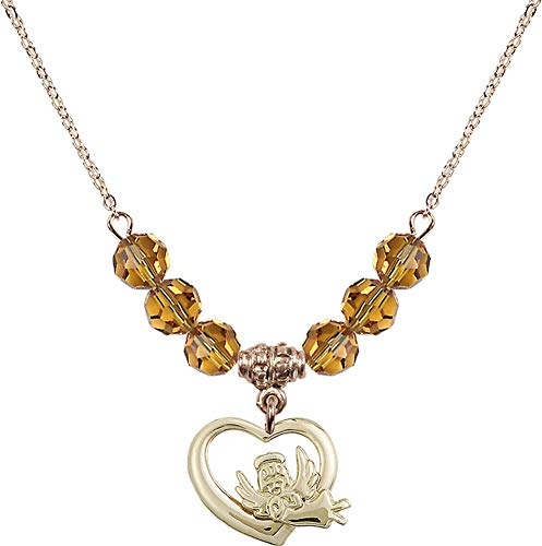 Bonyak Jewelry 18 Inch Hamilton Gold Plated Necklace w/ 6mm Yellow November Birth Month Stone Beads and Heart/Guardian Angel ()