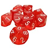 Dices - SODIAL(R)10-Dices D10 Ten Sided Gem Dice Die for RPG Dungeons&Dragons Board Table Games Transparent Red