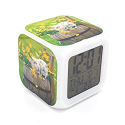 BoFy Led Alarm Clock Guinea Pig Animal Pattern Personality Creative Noiseless Multi-functional Electronic Desk Table Digital Alarm Clock for Unisex Adults Kids Toy Gift