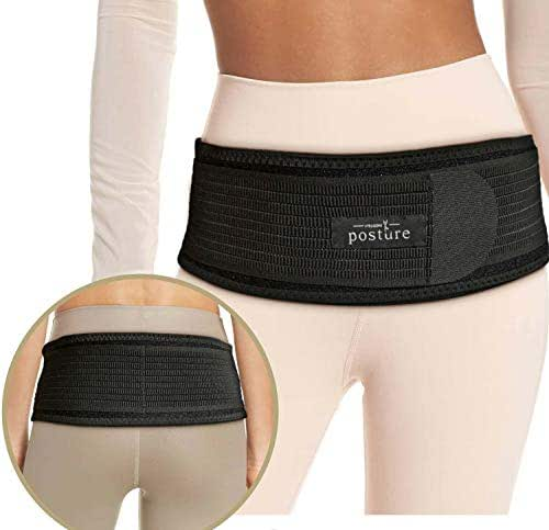 Sacroiliac SI Hip Belt for Women and Men That Alleviate Sciatic, Pelvic, Lower Back and Leg Pain, Stabilize SI Joint | Trochanter Belt | Anti-Slip and Pilling-Resistant (Black, Regular)