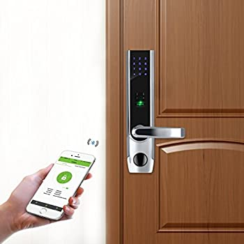 ZKTeco TL400B Fingerprint Biometric Door Lock with APP Digital Keyless Bluetooth Locks Smart Home Entry + 5pcs RFID Cards,Left Handed