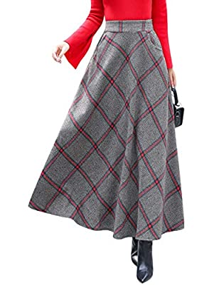 Tanming Women's Elastic Waist Checked Plaid Flared Swing Woolen A Line Long Skirts