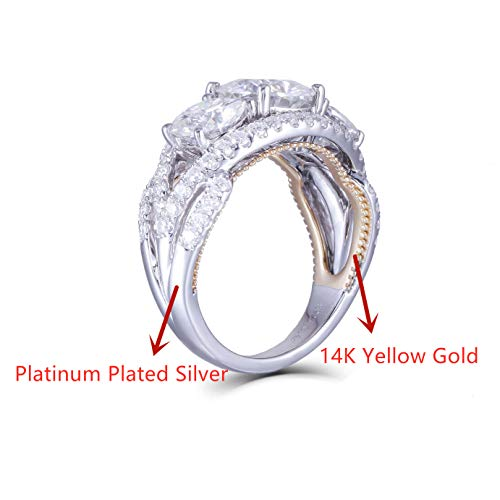 DovEggs 14K Yellow Gold Inner Shank Platinum Plated Silver Outside Shank Center 4ct 6mm-7.5mm-6mm H-I Color Cushion Cut Moissanite Three Stone Engagement Rings with Accents Band Width 2.7mm (7)