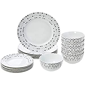 AmazonBasics 18-Piece Dinnerware Set – Triangle Accent, Service for 6