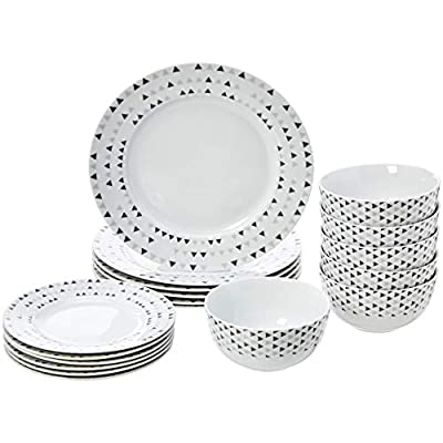 AmazonBasics 18-Piece Kitchen Dinnerware Set, Plates, Dishes, Bowls, Service for 6, Triangle Accent - 18-piece dinnerware set; service for 6; includes 6 each: 10.5-inch dinner plate, 7.5-inch salad plate, and 5.5-inch bowl AB-grade porcelain for everyday use; lightweight yet durable Elegant modern design for easy coordinating with existing tableware and décor - kitchen-tabletop, kitchen-dining-room, dinnerware-sets - 41FG JJ2aTL. SS400  -