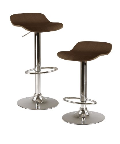 Winsome Kallie Air Lift Adjustable Stools in Wood Veneer with Cappuccino Color and Metal Base, Set of 2