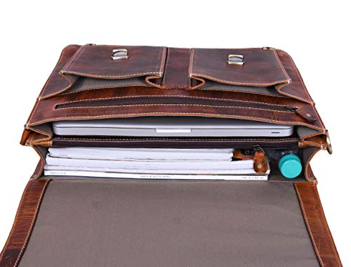 """15.5"""" Leather Briefcase Messenger Bag for Laptop by Aaron Leather (Brown)"""