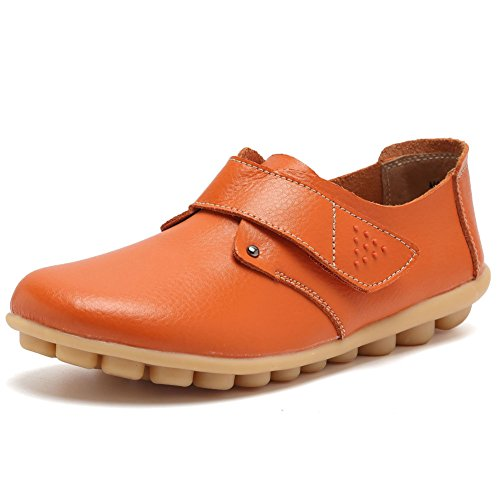 Women Leather Shoes Color Flats Slip On Loafers Orange - 2