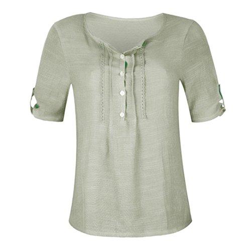 Casual Femme Ruffled Couleur Stitch Unie Bouton Courtes Manches Mousseline Chemise en Vert Blouse Bringbring 6XqwrSaTX