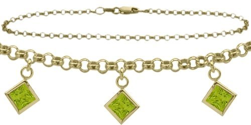 14K Yellow Gold 9 Inch Belcher Anklet with Genuine 2.00 Carat Peridot Square Charms -