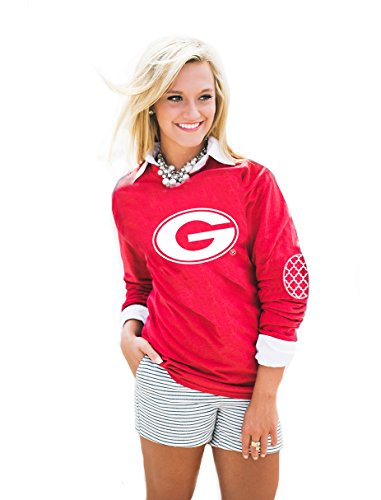 Gameday Couture NCAA Georgia Bulldogs, Puff Print Elbow Patch Long Sleeve Tee, Red, (Georgia Relaxed Fit Jean)