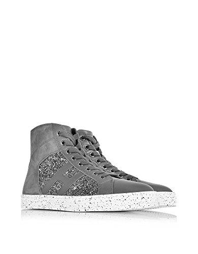 Hogan Rebel Hi Top Sneakers Donna HXW1410P991DWFB401 Pelle Grigio