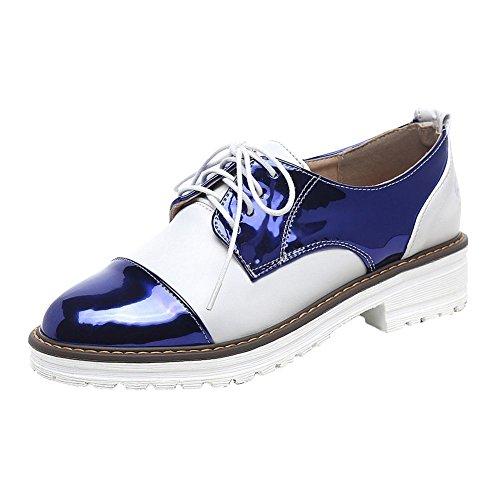 Mee Shoes Damen bequem mehrfarbig Nirdrig runde Brogue Dunkelblau