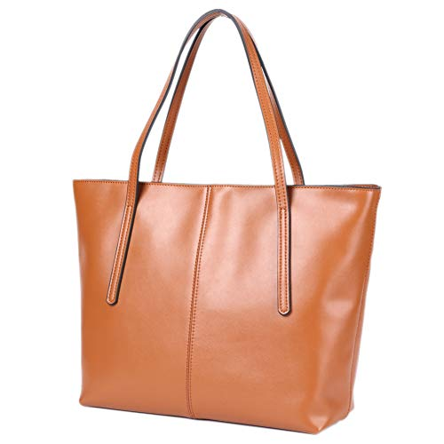 - CHERRY CHICK Women's Everyday Tote Bags Large Leather Purse Soft Hot (Matt Yellowish Brown-2152)