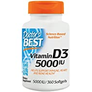Doctor's Best Vitamin D3 5000IU, Non-GMO, Gluten Free, Soy Free, Regulates Immune Function, Supports Healthy Bones, 360 Softgels