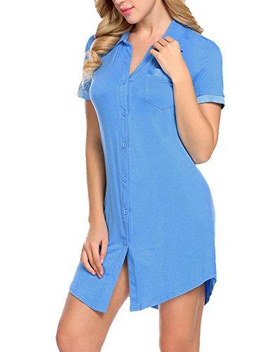 - Avidlove Women Botton Front Nightshirt V Neck Sleepwear Soft Nightgown